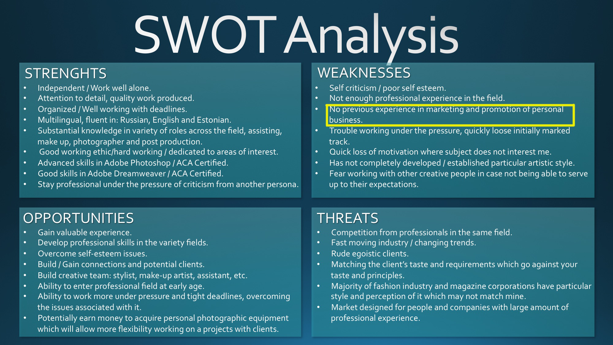 201 Mc Professional Experience Personal Swot Analysis